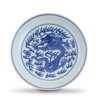 A Chinese blue and white 'Dragon' dish, Qianlong mark and period, 1735-1796