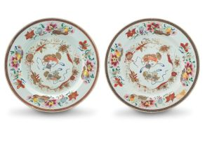 A pair of Chinese famille-rose dishes, Qianlong period, 1735-1796