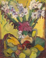 Irma Stern; Still Life with Gladioli and Fruit