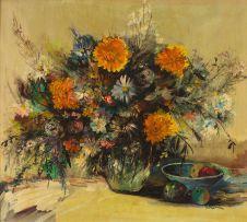 Jan Dingemans; Still Life with Vase of Flowers and Fruit