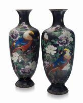 A pair of large Japanese cloisonné enamel vases, Meiji period, 1868-1912