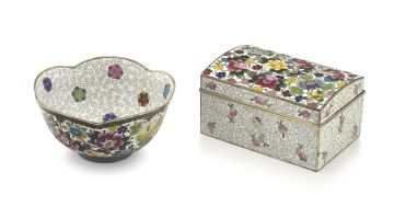 A Japanese cloisonné enamel box, Inaba Cloisonné Co., late Meiji period, 1868-1912