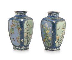 A pair of Japanese cloisonné enamel vases, Inaba Cloisonné Co., Meiji period, 1868-1912
