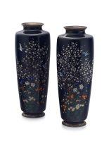 A matching pair of Japanese cloisonné enamel vases, Gonda Hirosuke, Meiji period, 1868-1912