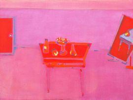 Robert Hodgins; Still Life with Cheval Mirror