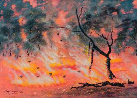 John Koenakeefe Mohl; Bushveld Fire with Blackbirds Consuming Insects, W. Tvl