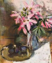 Irmin Henkel; Still Life with Lilies and Plums