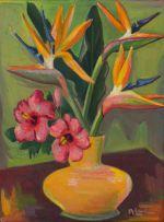 Maggie Laubser; Vase of Strelitzias and Hibiscus Flowers