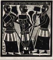 John Muafangejo; Three Girls Stamping the Corn in Ovambo, 1980
