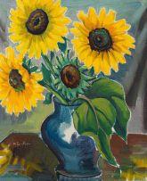 Maggie Laubser; Sunflowers in Blue Vase