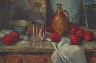 David Botha; Still Life with a Jug, Copper Pot and Pomegranates