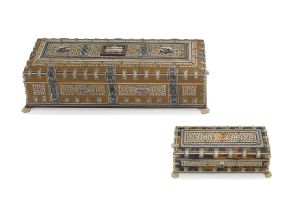 An Indian sandalwood, rosewood and ivory-mounted casket, early 20th century