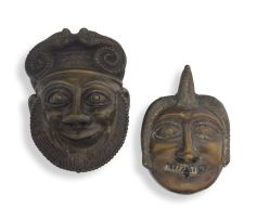 A bronze mask, 19th century, possibly Indian