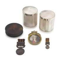 A pair of mother-of-pearl and silver-plated boxes, 20th century