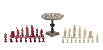 An Anglo-Indian ivory, horn, sandalwood and tortoiseshell miniature chess table, Vizagapatam, 19th century