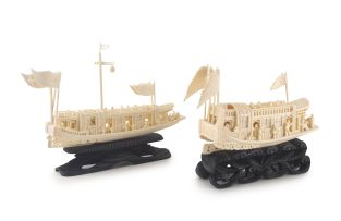 Two Chinese carved ivory models of boats, late 19th/early 20th century