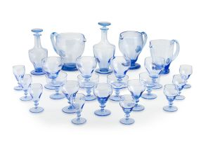 A collection of blue glass drinking glasses, 20th century