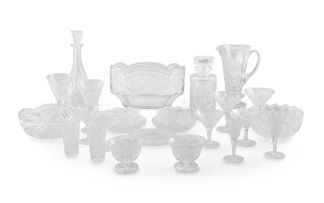 A suite of cut-glass drinking glasses, 20th century