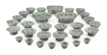 A collection of Chinese celadon-glazed and famille-rose wares, 20th century