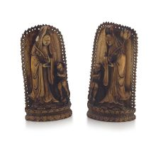 A pair of Chinese ivory stands, Qing Dynasty, 19th century