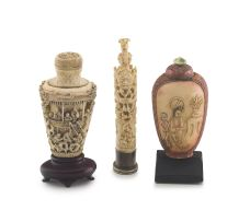 A Chinese ivory snuff bottle, Qing Dynasty, 19th century