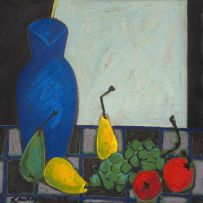 Erik Laubscher; Still Life with Fruit and a Blue Jug
