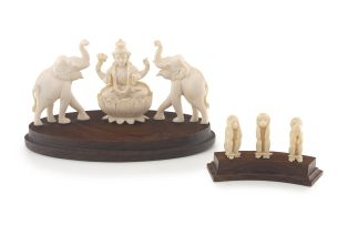 Three Indian ivory figures of 'The Wise Monkeys', 20th century