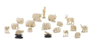 A miscellaneous group of ivory carvings, 20th century