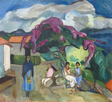 Edward Wolfe; Group of Women Beneath a Tree, Taxco, Mexico