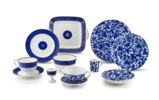 A Wedgwood blue and white part breakfast set, circa 1900