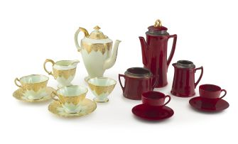 A Hammersley & Co green and gilt coffee set, mid 20th century