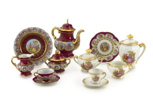 A Hutschenreuther maroon and gilt part coffee set, mid 20th century