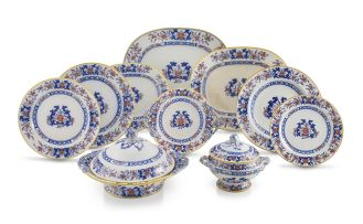 A Mintons transfer-printed part dinner service, mid 19th century