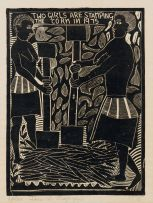 John Muafangejo; Two Girls are Stamping the Corn in 1975