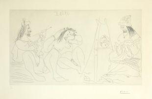 Pablo Picasso; Raphaël et la Fornarina. VII: Le Pape est là, assis (Bloch 1782)