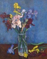 François Krige; Irises in a Vase