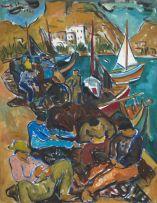 Irma Stern; Repairing Fishing Nets on the Quay