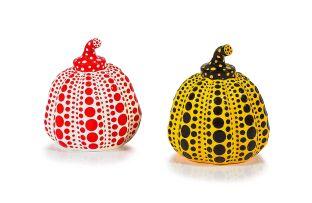 Yayoi Kusama; Red and Yellow Pumpkin, two