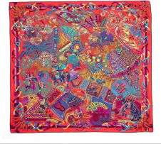 An Hermès multicoloured 'Au Fil du Carré' silk scarf