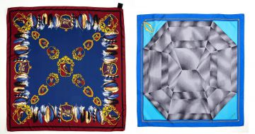 A Must de Cartier blue and grey silk twill scarf