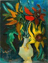 Edward Wolfe; Vase of Sunflowers