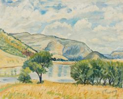 Reginald Turvey; Landscape with Lake and Mountains