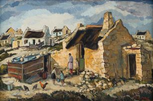 David Botha; Mother and Children Feeding Chickens