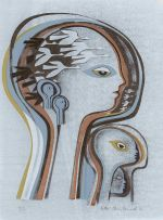 Bettie Cilliers-Barnard; Composition with Heads and Birds