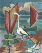 Maggie Laubser; Bird and Boats