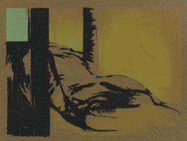 Wim Blom; Abstract Composition with Reclining Figure