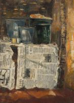 Ephraim Ngatane; Kitchen Table with Vessels and Newspaper