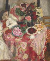 Maud Sumner; Jeune fille près de la table rose