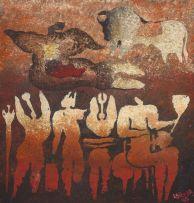 Lucky Sibiya; Row of Figures and Bull