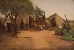 Frans Oerder; An Encampment with Wagon